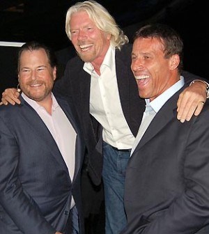 (from left to right) Marc Benioff, Richard Branson, Tony Robbins